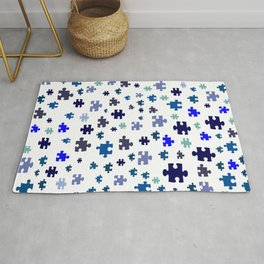Jigsaw pieces of bluish colors. Rug