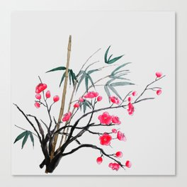 bamboo and red plum flowers Canvas Print
