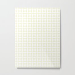 Small Diamonds - White and Beige Metal Print
