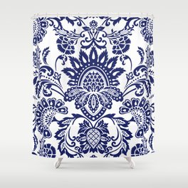 damask blue and white Shower Curtain