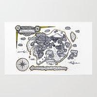 neverland Area & Throw Rugs featuring Neverland Illustration  by Mark Karwowski