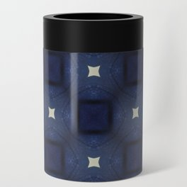 Blue and White Square Pattern Can Cooler