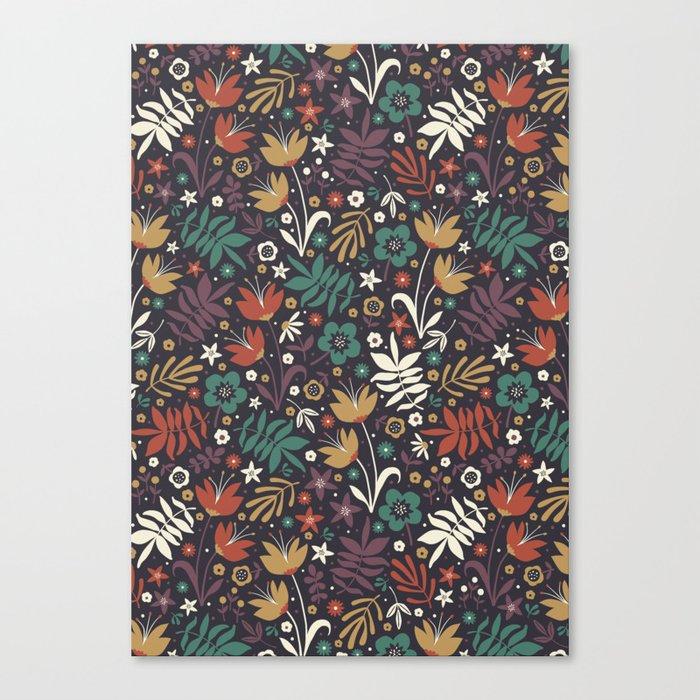 Midnight Florals Canvas Print