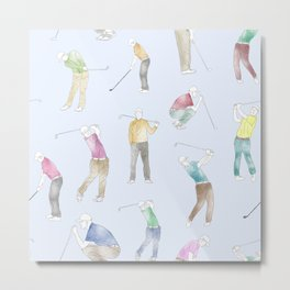 Watercolor Golfers // Light Blue Metal Print