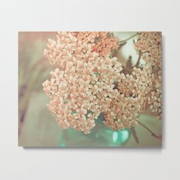 Botanical Still Life Yarrow in Apricot and Jade Metal Print