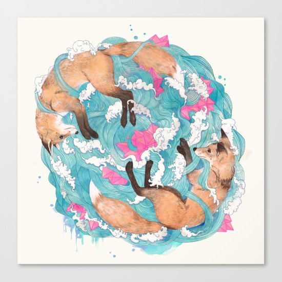 falling foxes Canvas Print