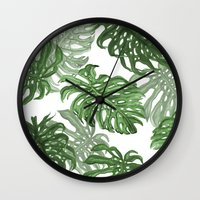 palms Wall Clocks featuring Monstera Deliciosa by Laura O'Connor