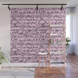 Hand Written Sheet Music // Light Pink Wall Mural