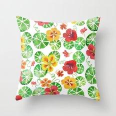 Watercolor Nasturtiums Throw Pillow