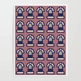 New York Windows Pattern 261 Brown Grey and Blue Poster