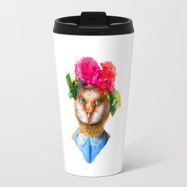 Lady Owl with Head Flowers Bouquet Travel Mug