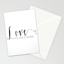 LOVE LIVES HERE, Calligraphy Print,Love Quote,Love Sign,Family Sign,Family Wall Decor,Quote prints,T Stationery Cards