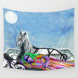 Unicorn and The Sleeping Robot Wall Tapestry