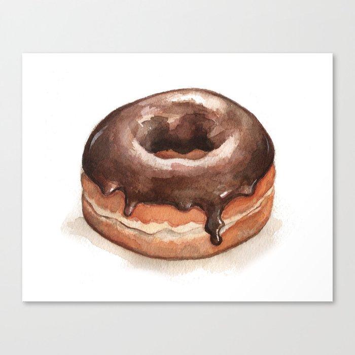 Chocolate Glazed Donut Canvas Print