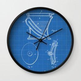Toilet Patent - Bathroom Art - Blueprint Wall Clock