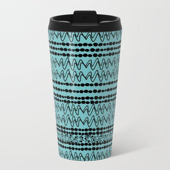 squiggle lines 2 Metal Travel Mug