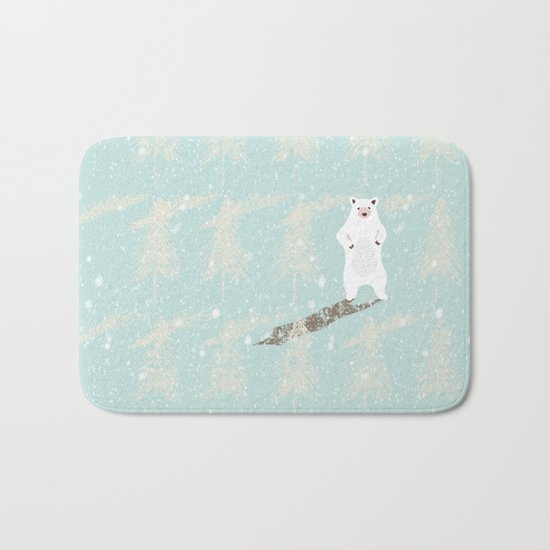 Polar bear in snowy white winter forest -Illustration Bath Mat