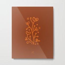 Heart Shrub, Enchanted Garden  |  Orange Metal Print