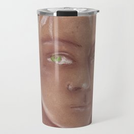 Woman with green eyes look into the soul. Pastel Travel Mug