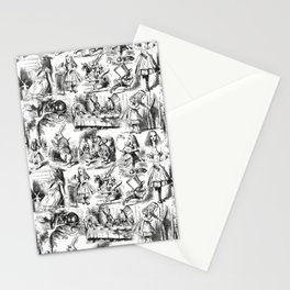 Alice in Wonderland   Toile de Jouy Pattern   Black and White   Vintage Pattern   Victorian Gothic   Stationery Cards