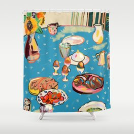 BREAKFAST IN THE GARDEN WITH SUNFLOWERS AND CROISSANTS Shower Curtain