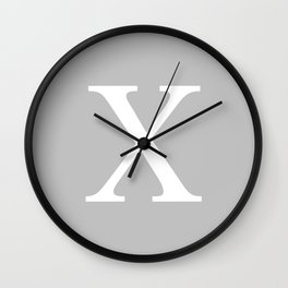 Silver Gray Basic Monogram X Wall Clock