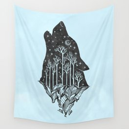 Adventure Wolf - Nature Mountains Wolves Howling Design Black on Turquoise Blue Wall Tapestry