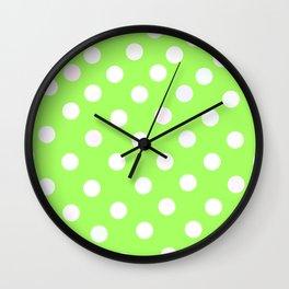 Yellow-green polka dots Wall Clock