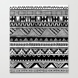 Black White Cute Girly Urban Tribal Aztec Andes Abstract Geometric Hand-drawn Pattern Canvas Print