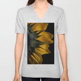 Backside of Sunflower Nature Photo with Brush Strokes Digital Effects Unisex V-Neck