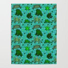 Cartoon Frogs Poster