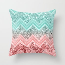 Summer Vibes Glitter Chevron #1 #coral #mint #shiny #decor #art #society6 Throw Pillow