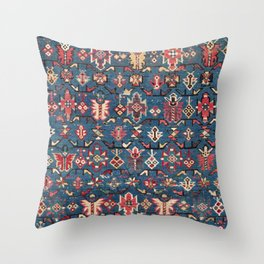 Cobalt Blue Khyrdagyd // 19th Century Authentic Colorful Yellow Red Aztec Butterfly Accent Pattern Throw Pillow