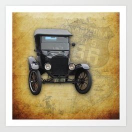 Antique Car on Old Route 66 on and Map Art Print