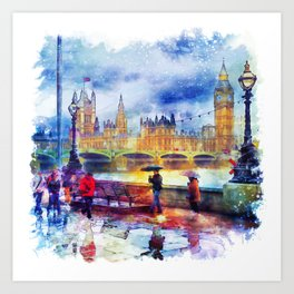 London Rain watercolor Art Print
