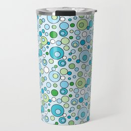 Turquoise Blue and Green Bubbles Spot Pattern Travel Mug