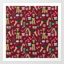 Airedale Terrier Christmas dog print dog pattern airedale pillow airedale phone case Art Print