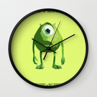 monster inc Wall Clocks featuring Monsters, Inc by FunnyFaceArt