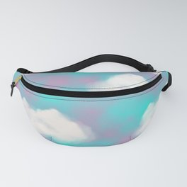 White Clouds Watercolor Sky Aesthetic Teal Blue  Fanny Pack