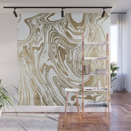 Stylish white faux gold foil elegant marble Wall Mural