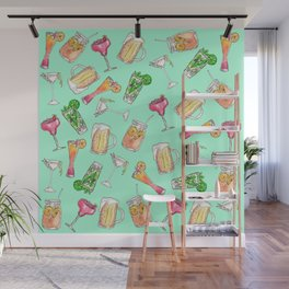 Fun Summer Watercolor Painted Mixed Drinks Pattern Wall Mural