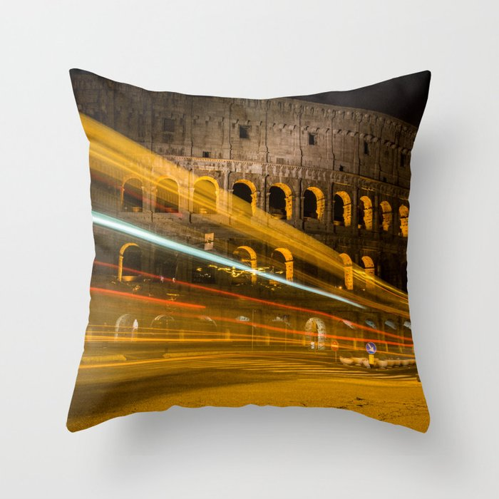 Zooming past the Colosseum Throw Pillow