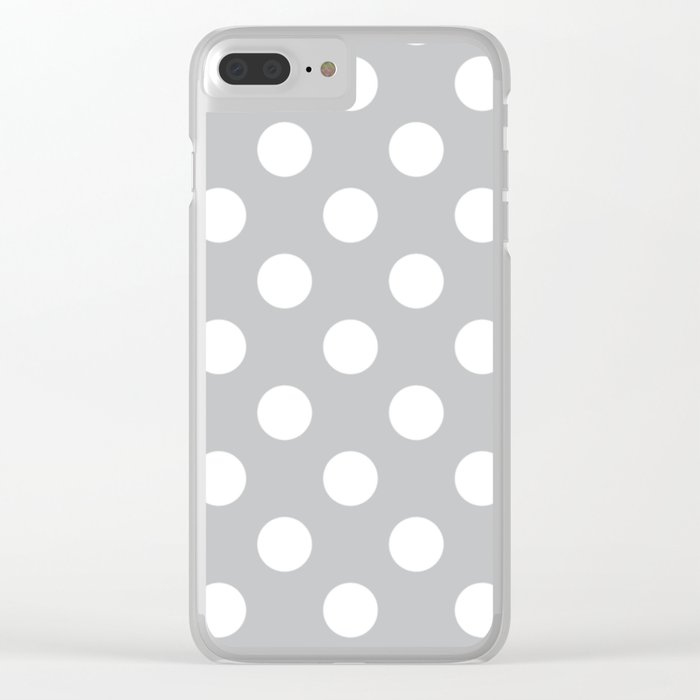 Silver Sand Grey White Polka Dots Pois Pattern Clear Iphone Case By Makeitcolorful