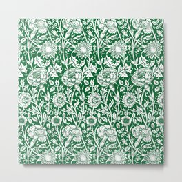 "William Morris Floral Pattern | ""Pink and Rose"" in Green and White Metal Print"