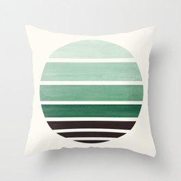 Deep Green Mid Century Modern Minimalist Circle Round Photo Staggered Sunset Geometric Stripe Design Throw Pillow