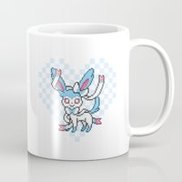 sylveon Mugs featuring 8-Bit Shiny Sylveon (Textless) by einjello