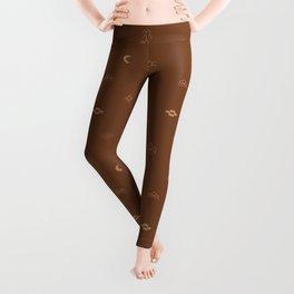 Southwestern Symbolic Pattern in Rust & Tan Leggings