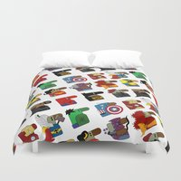 super heroes Duvet Covers featuring Super Heroes by nobleplatypus