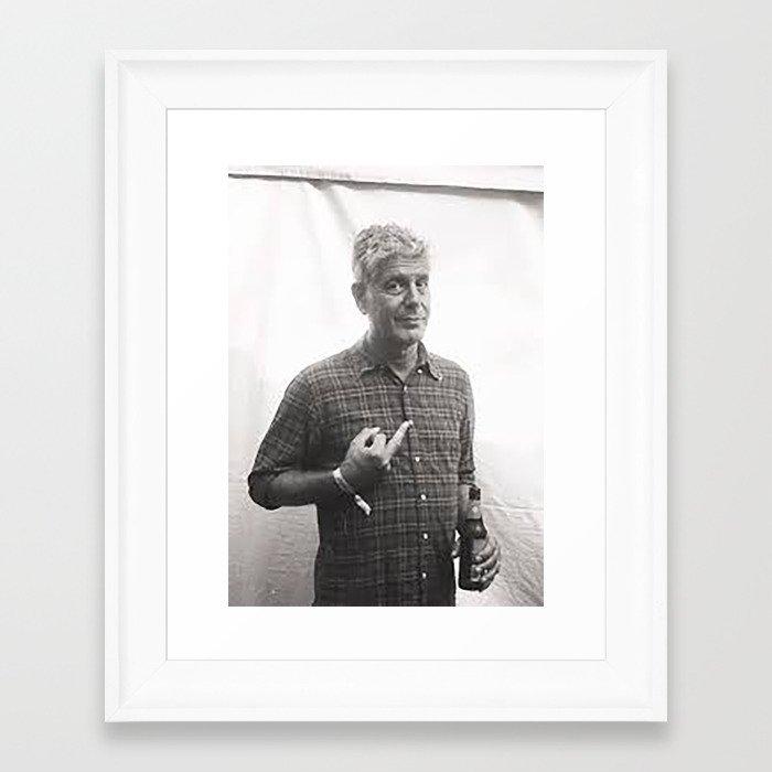 Anthony Bourdain Middle Finger Framed Art Print