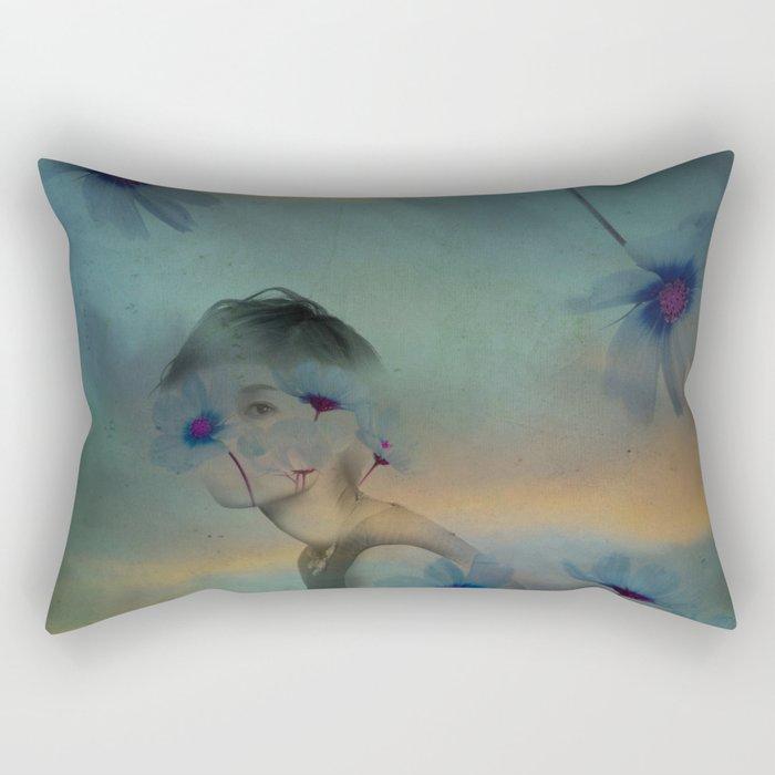 Woman hidden in a world of flowers Rectangular Pillow